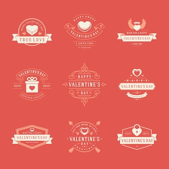 Happy valentines day labels, badges, symbols, illustrations and typography   elements for greetings cards and promotion banners.