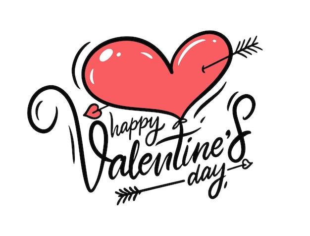 С днем святого валентина надписи и красное сердце.