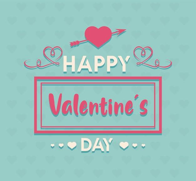 С днем святого валентина надписи карта с сердцем и стрелкой