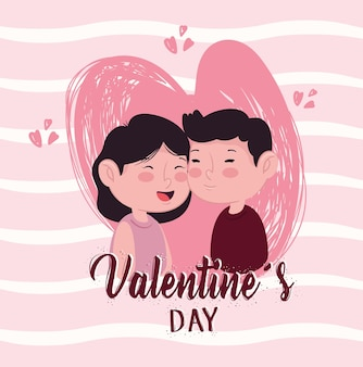 Happy valentines day lettering card with lovers couple in heart  illustration