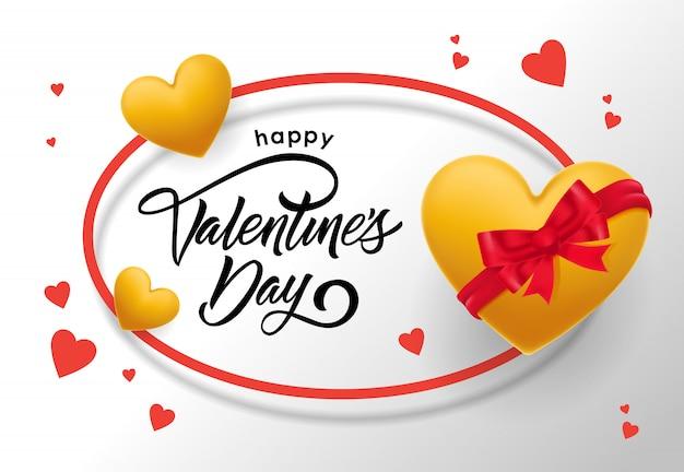 幸せなバレンタインデーのハートと楕円形のフレームでレタリング