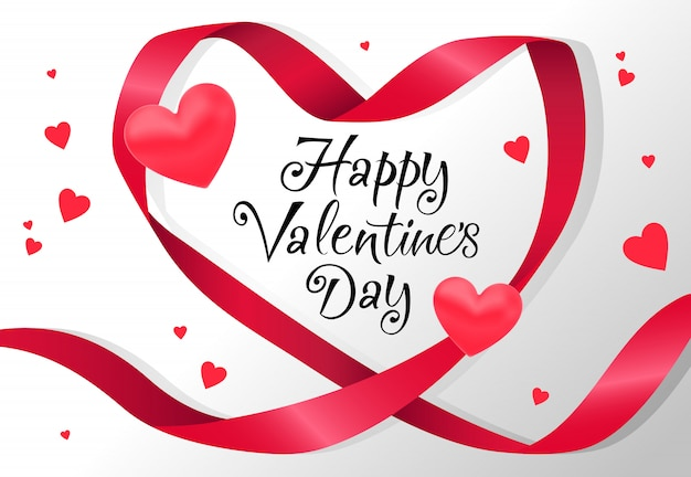 Happy valentines day lettering in red heart shaped ribbon frame