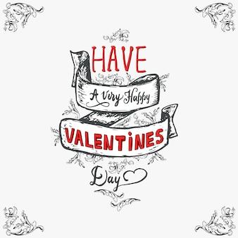 Happy valentines day lettering vintage celebrating card.