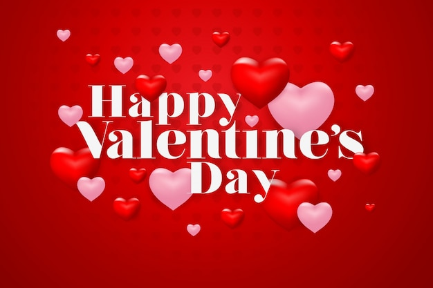Happy valentines day lettering with heart on red background