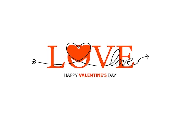 Happy valentines day lettering .