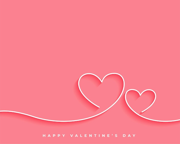 Felice giorno di san valentino linea cuore card design