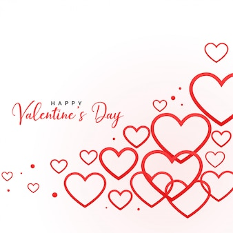 Happy valentines day line hearts background