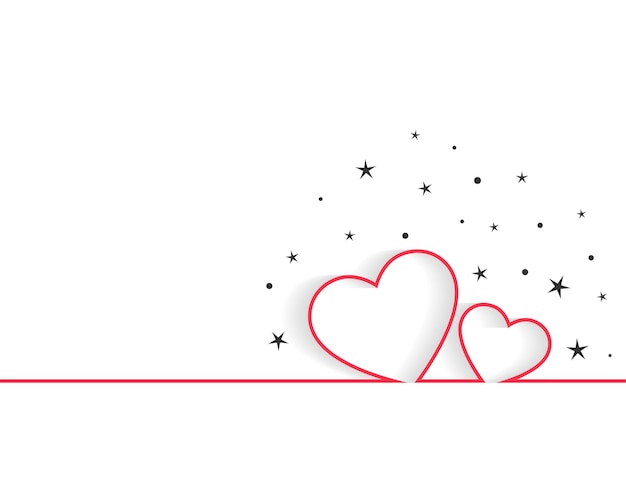 Happy valentines day line hearts greeting design