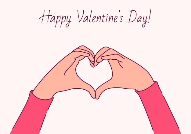 С днем святого валентина, концепция любви. женские руки в форме сердца