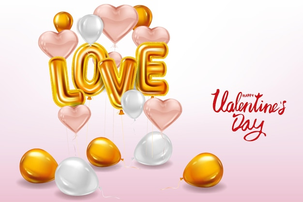 Happy valentines day, love gold helium metallic glossy balloons realistic text, heart shape flying pink balloons