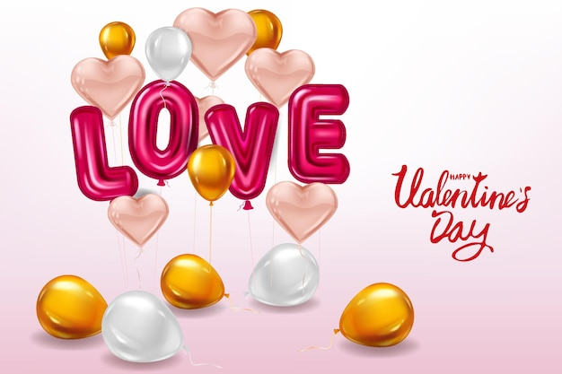 Happy valentines day, love helium metallic glossy balloons realistic text, heart shape flying pink balloons