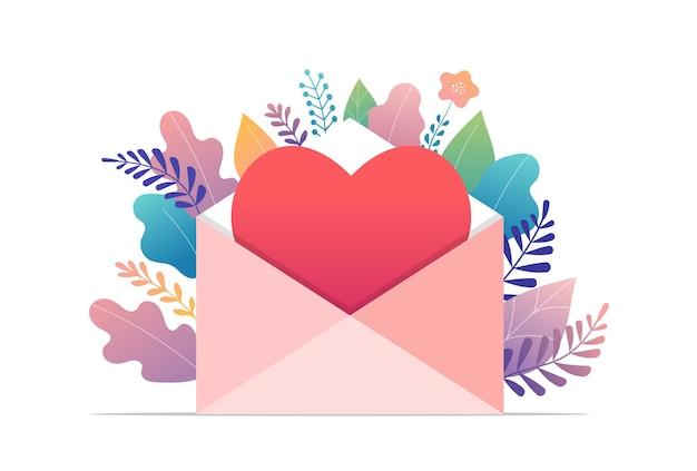 幸せなバレンタインデー、ラブレターのコンセプト。赤いハートの大きな封筒、ロマンチック