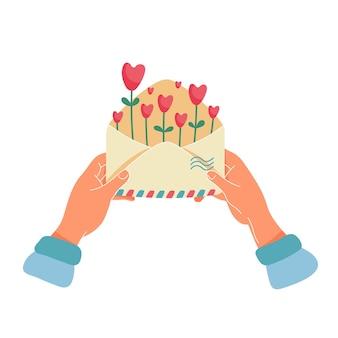 Счастливый день святого валентина, любовь или романтическое письмо концепции.