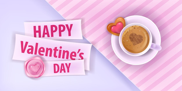 Happy valentines day love pink card or banner with coffee cup, heart-shaped cookie, paper cut background. holiday romantic breakfast layout with latte,candy. valentines day date greeting card