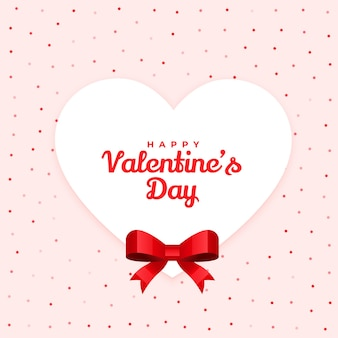 Happy valentines day lovely card design with ribbon