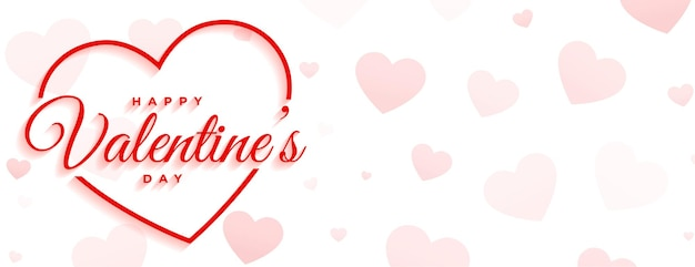 Happy valentines day minimal white banner Free Vector