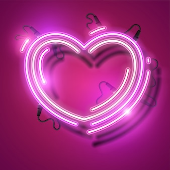 Happy valentines day neon design.