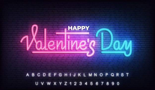 Happy valentines day neon, valentines day light glowing lettering sign