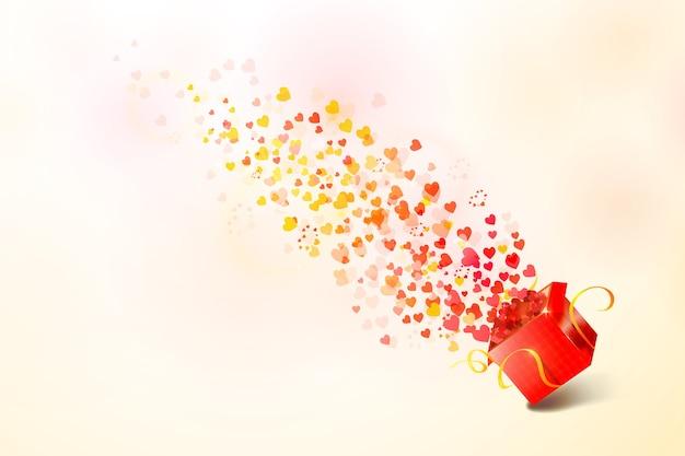 С днем святого валентина. открытая подарочная коробка с сердечками мухи.