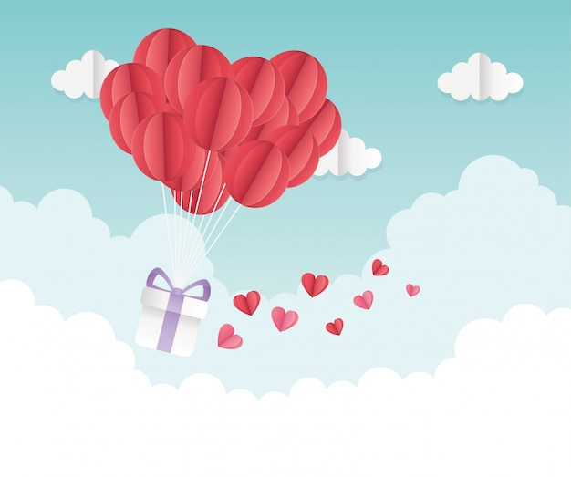 Happy valentines day origami gift balloon hearts clouds