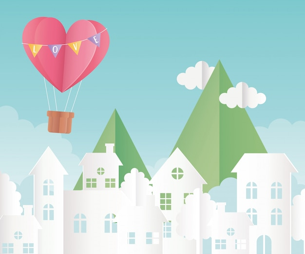 Happy valentines day origami paper air balloon heart balloons mountains clouds cityscape
