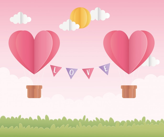 Happy valentines day origami paper air balloons with sun field
