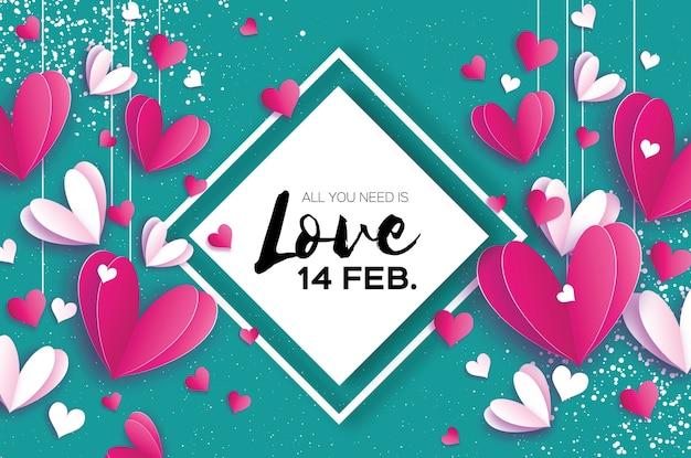 С днем святого валентина оригами красные белые сердечки в стиле вырезки из бумаги романтические праздники любовь февраль
