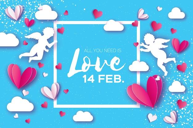 С днем святого валентина оригами красные белые сердца в стиле вырезки из бумаги пространство для текста текст романтические праздники любовь февраль