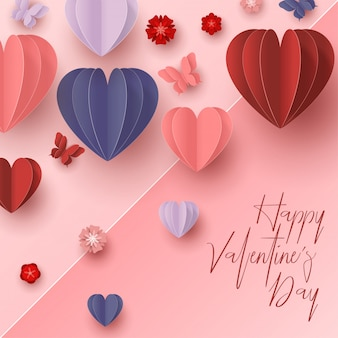 Happy valentines day paper cut style with colorful heart shape in pink background