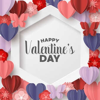 Happy valentines day paper cut style with colorful heart shape in pink