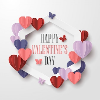 Happy valentines day paper cut style with colorful heart shape and white frame in white background