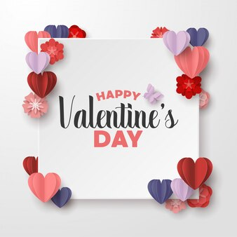 Happy valentines day paper cut style with colorful heart shape and white frame in white