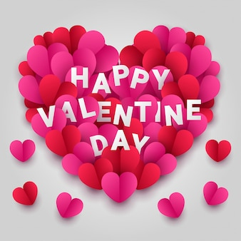 Happy valentines day paper cut style with colorful heart shape in white