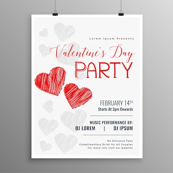 Happy valentines day party celebration flyer template