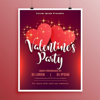 Happy valentines day party flyer brochure beautiful design