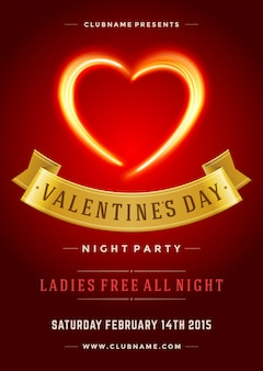 Happy valentines day party poster or flyer template vector illustration and burn flame heart shape