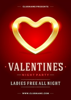 Happy valentines day party poster or flyer template vector illustration and shiny heart shape