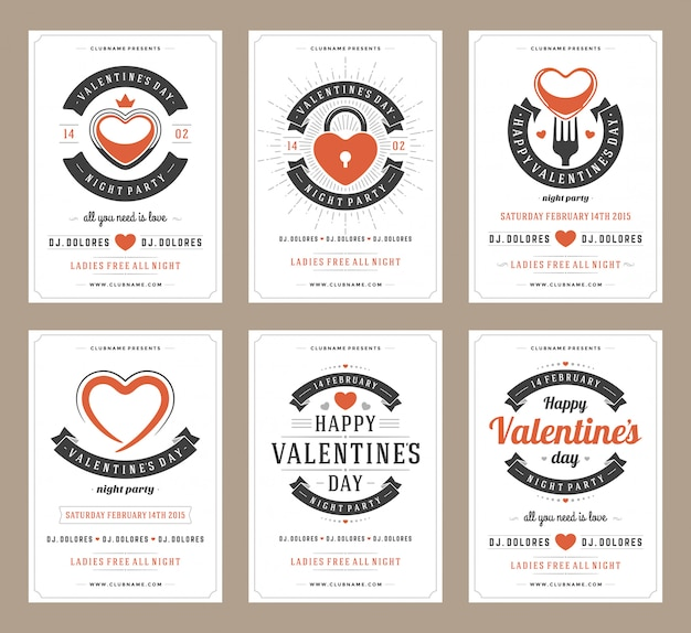 Happy valentines day party posters design templates set