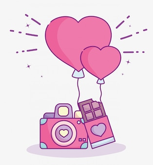 Happy valentines day, photo camera chocolate bar and balloons love vector illustration