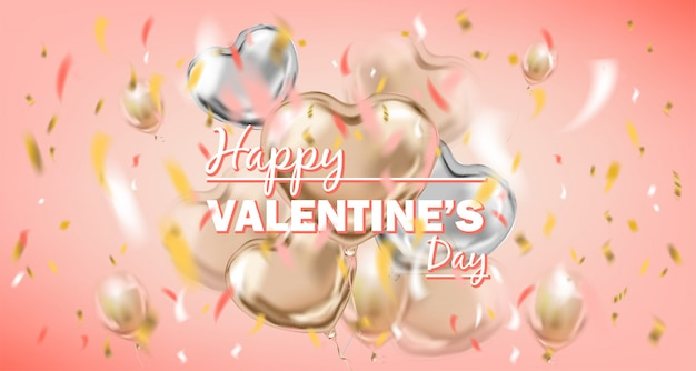 Happy valentines day pink card with metallic air balloons