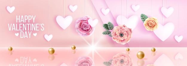 해피 발렌타인 데이 핑크 사랑 로맨틱 판매 배경, 하트, 꽃, 장미와 인사. 휴일 봄 개념, 황금 진주, 반사.