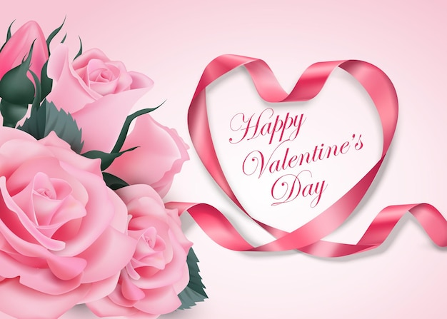 Happy valentines day pink ribbon heart with delicate pink flowering cherry  vector