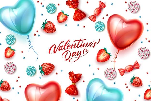해피 발렌타인 데이 포스터 디자인 일러스트 레이션