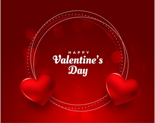 Happy valentines day red hearts frame background