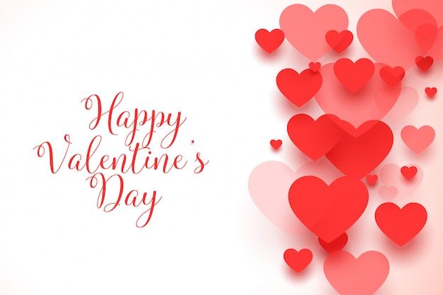 幸せなバレンタインデー赤いハートグリーティングカード
