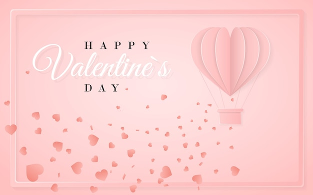 Happy valentines day retro invitation card template with origami paper hot air balloon in heart shape. pink background.