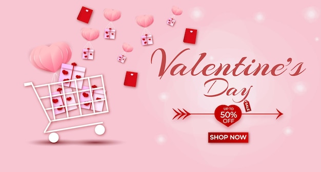 Happy valentines day sale banner with hearts