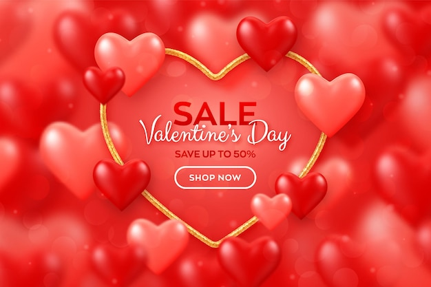 해피 발렌타인 데이 판매 배너.