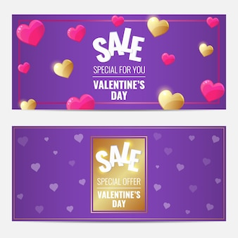 Happy valentines day sale purple gorizontal set of banners with golden and pink hearts.