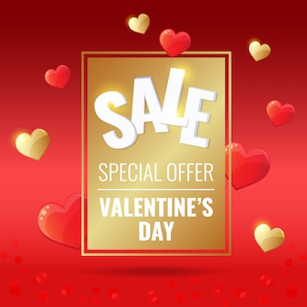 Happy valentines day sale red banner with gold frame, golden and red hearts.